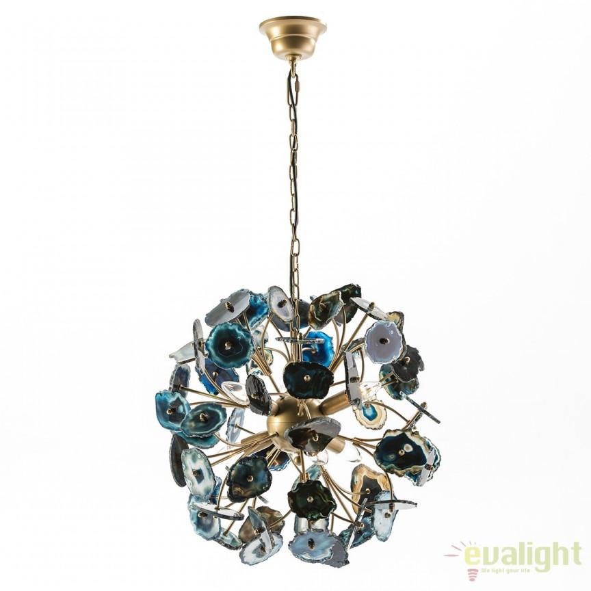 Lustra metalica design LUX Golden/Agate Blue 65811/00 TN, Magazin, Corpuri de iluminat, lustre, aplice, veioze, lampadare, plafoniere. Mobilier si decoratiuni, oglinzi, scaune, fotolii. Oferte speciale iluminat interior si exterior. Livram in toata tara.  a