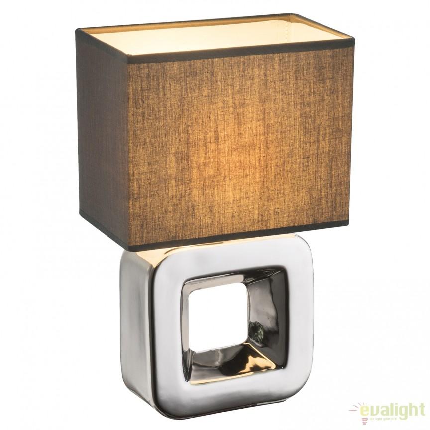 Veioza cu baza din ceramica KILAUEA, crom/ gri 21603 GL, Veioze, Lampi de masa, Corpuri de iluminat, lustre, aplice, veioze, lampadare, plafoniere. Mobilier si decoratiuni, oglinzi, scaune, fotolii. Oferte speciale iluminat interior si exterior. Livram in toata tara.  a