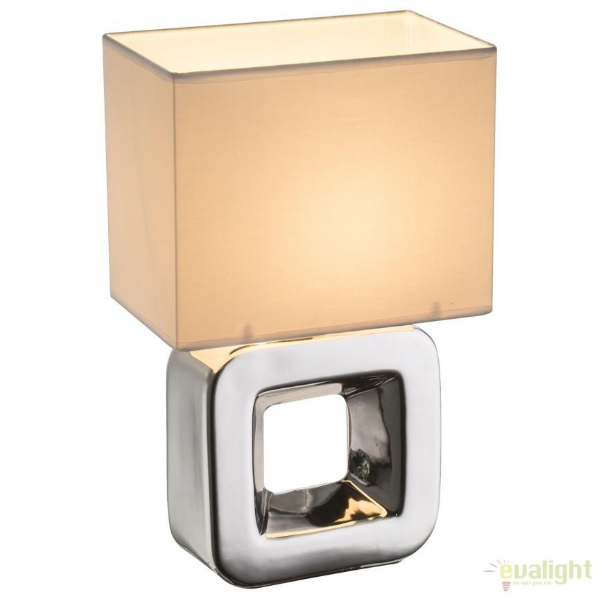 Veioza cu baza din ceramica KILAUEA, crom/ alb 21602 GL, Veioze, Lampi de masa, Corpuri de iluminat, lustre, aplice, veioze, lampadare, plafoniere. Mobilier si decoratiuni, oglinzi, scaune, fotolii. Oferte speciale iluminat interior si exterior. Livram in toata tara.  a