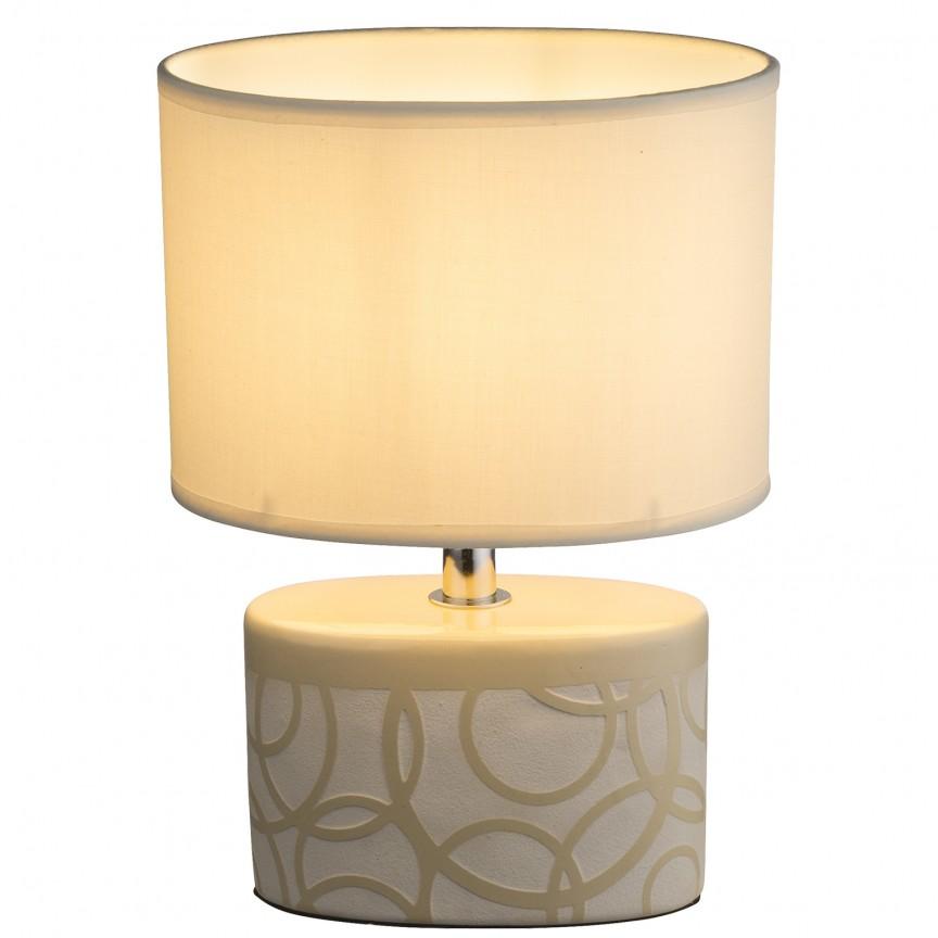 Veioza moderna cu baza din ceramica DUKONO, bej 21605 GL, Veioze, Lampi de masa, Corpuri de iluminat, lustre, aplice, veioze, lampadare, plafoniere. Mobilier si decoratiuni, oglinzi, scaune, fotolii. Oferte speciale iluminat interior si exterior. Livram in toata tara.  a