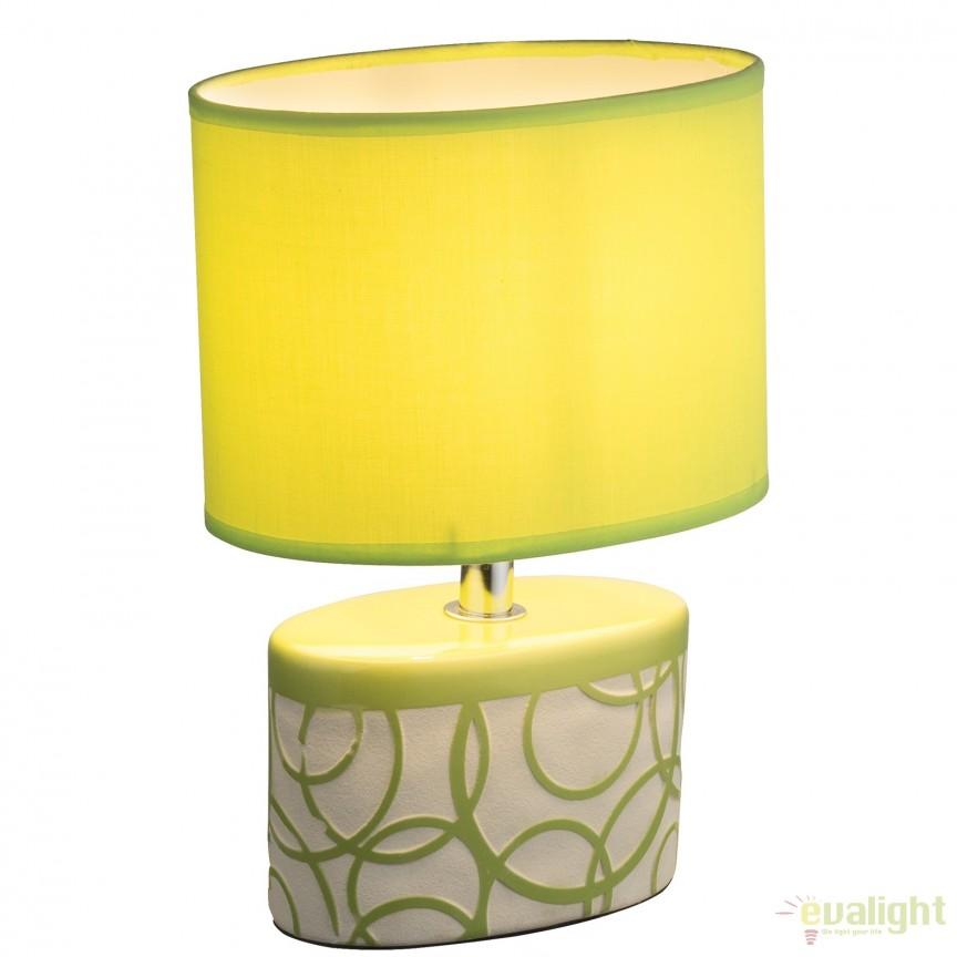 Veioza moderna cu baza din ceramica DUKONO, verde 21606 GL, Veioze, Lampi de masa, Corpuri de iluminat, lustre, aplice, veioze, lampadare, plafoniere. Mobilier si decoratiuni, oglinzi, scaune, fotolii. Oferte speciale iluminat interior si exterior. Livram in toata tara.  a