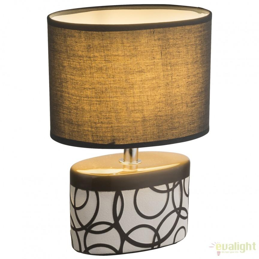 Veioza moderna cu baza din ceramica DUKONO, gri 21604 GL, Veioze, Lampi de masa, Corpuri de iluminat, lustre, aplice, veioze, lampadare, plafoniere. Mobilier si decoratiuni, oglinzi, scaune, fotolii. Oferte speciale iluminat interior si exterior. Livram in toata tara.  a