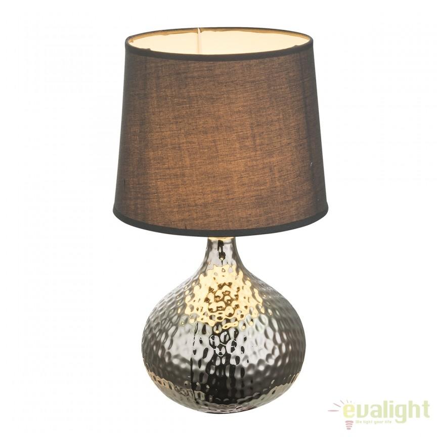 Veioza cu baza din ceramica Soputan crom/ negru 21654 GL, Veioze, Lampi de masa, Corpuri de iluminat, lustre, aplice, veioze, lampadare, plafoniere. Mobilier si decoratiuni, oglinzi, scaune, fotolii. Oferte speciale iluminat interior si exterior. Livram in toata tara.  a