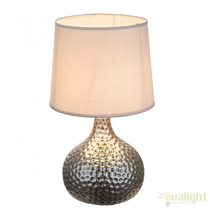 Veioza cu baza din ceramica Soputan crom/ gri 21655 GL, Veioze, Lampi de masa, Corpuri de iluminat, lustre, aplice, veioze, lampadare, plafoniere. Mobilier si decoratiuni, oglinzi, scaune, fotolii. Oferte speciale iluminat interior si exterior. Livram in toata tara.  a