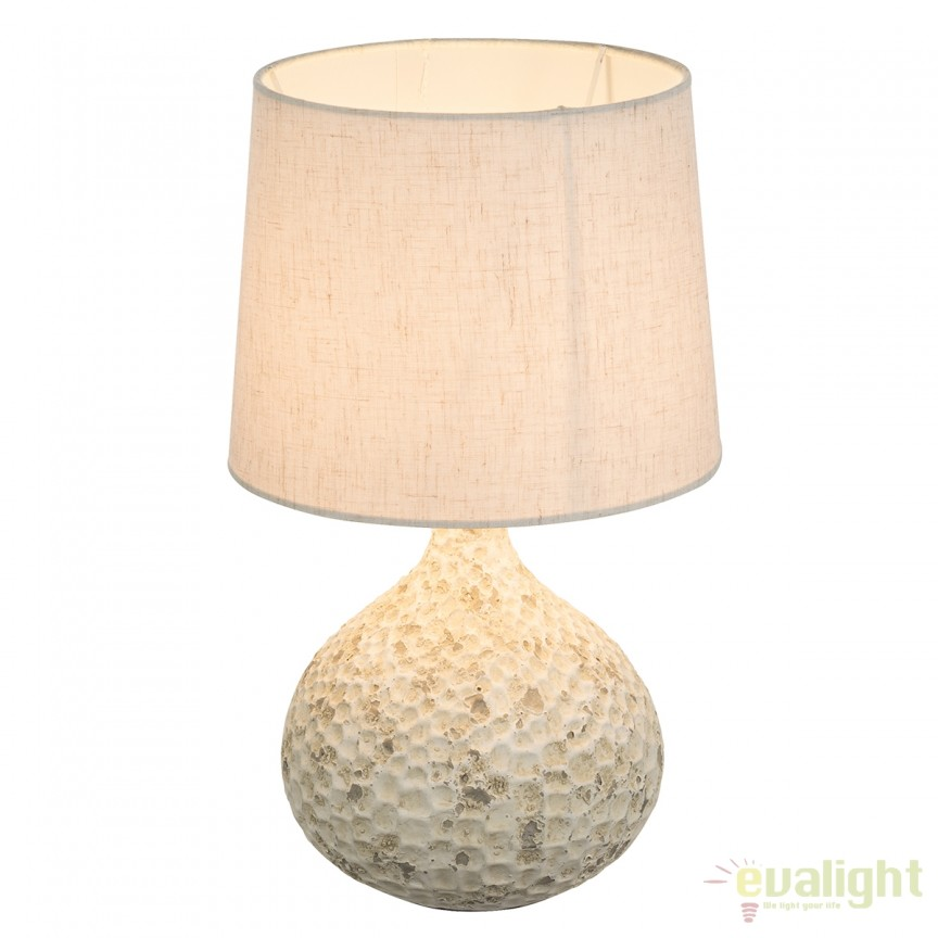 Veioza cu baza din ceramica Soputan bej 21656 GL, Veioze, Lampi de masa, Corpuri de iluminat, lustre, aplice, veioze, lampadare, plafoniere. Mobilier si decoratiuni, oglinzi, scaune, fotolii. Oferte speciale iluminat interior si exterior. Livram in toata tara.  a