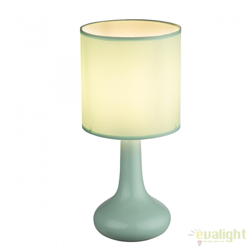 Veioza cu baza din ceramica Parina verde 21657G GL, Veioze, Lampi de masa, Corpuri de iluminat, lustre, aplice, veioze, lampadare, plafoniere. Mobilier si decoratiuni, oglinzi, scaune, fotolii. Oferte speciale iluminat interior si exterior. Livram in toata tara.  a