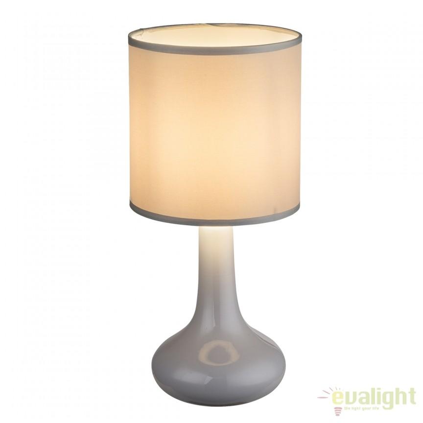 Veioza cu baza din ceramica Parina gri 21657 GL, Veioze, Lampi de masa, Corpuri de iluminat, lustre, aplice, veioze, lampadare, plafoniere. Mobilier si decoratiuni, oglinzi, scaune, fotolii. Oferte speciale iluminat interior si exterior. Livram in toata tara.  a