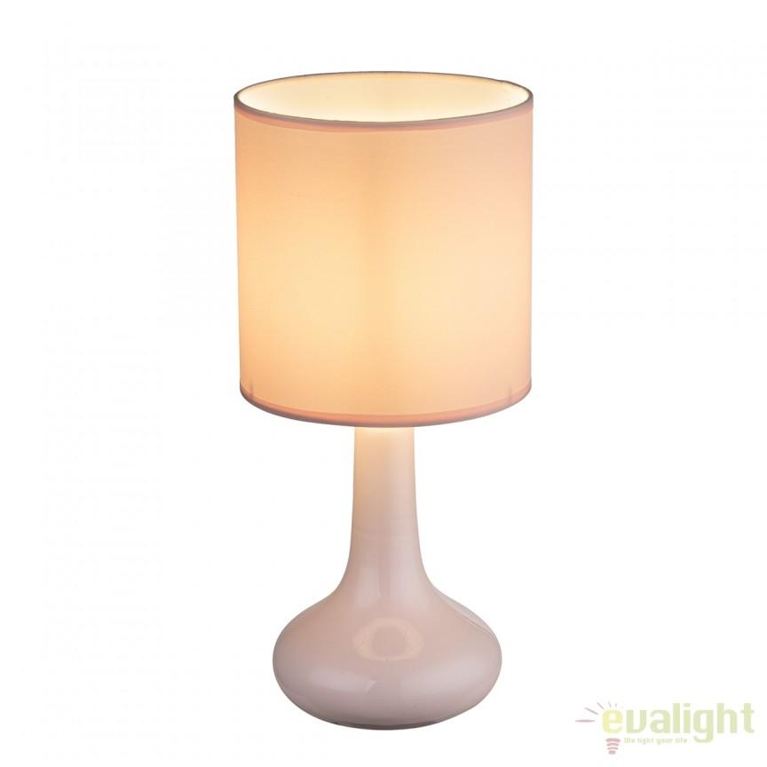 Veioza cu baza din ceramica Parina roz 21657P GL  , Veioze, Lampi de masa, Corpuri de iluminat, lustre, aplice, veioze, lampadare, plafoniere. Mobilier si decoratiuni, oglinzi, scaune, fotolii. Oferte speciale iluminat interior si exterior. Livram in toata tara.  a