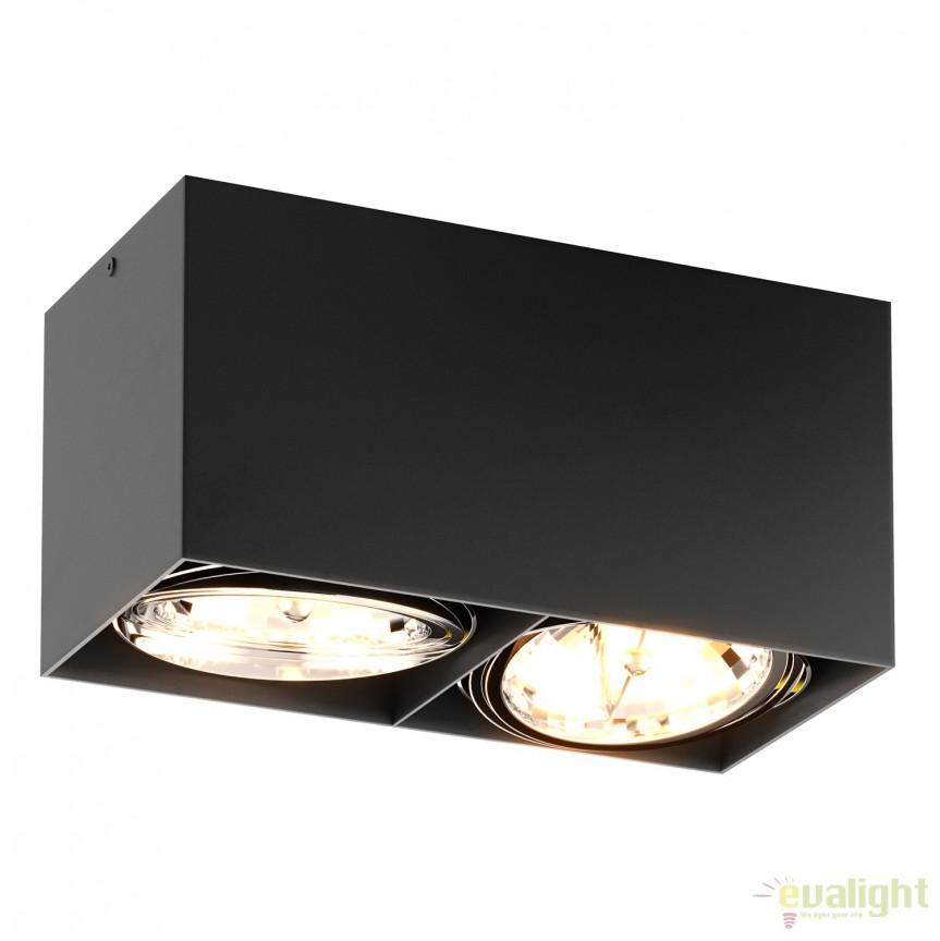 Spot modern aplicat BOX SL 2 negru 90433 ZL, Spoturi aplicate - tavan / perete, Corpuri de iluminat, lustre, aplice, veioze, lampadare, plafoniere. Mobilier si decoratiuni, oglinzi, scaune, fotolii. Oferte speciale iluminat interior si exterior. Livram in toata tara.  a