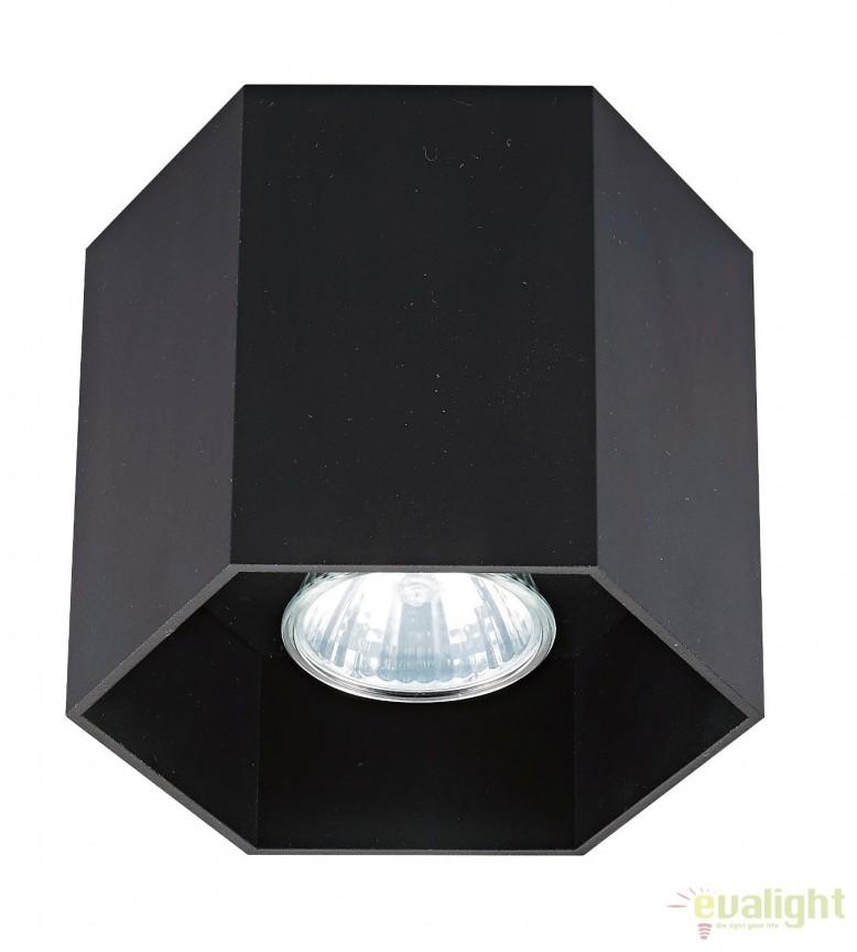 Spot aplicat POLYGON CL1, negru 20035-BK ZL, Spoturi aplicate - tavan / perete, Corpuri de iluminat, lustre, aplice, veioze, lampadare, plafoniere. Mobilier si decoratiuni, oglinzi, scaune, fotolii. Oferte speciale iluminat interior si exterior. Livram in toata tara.  a