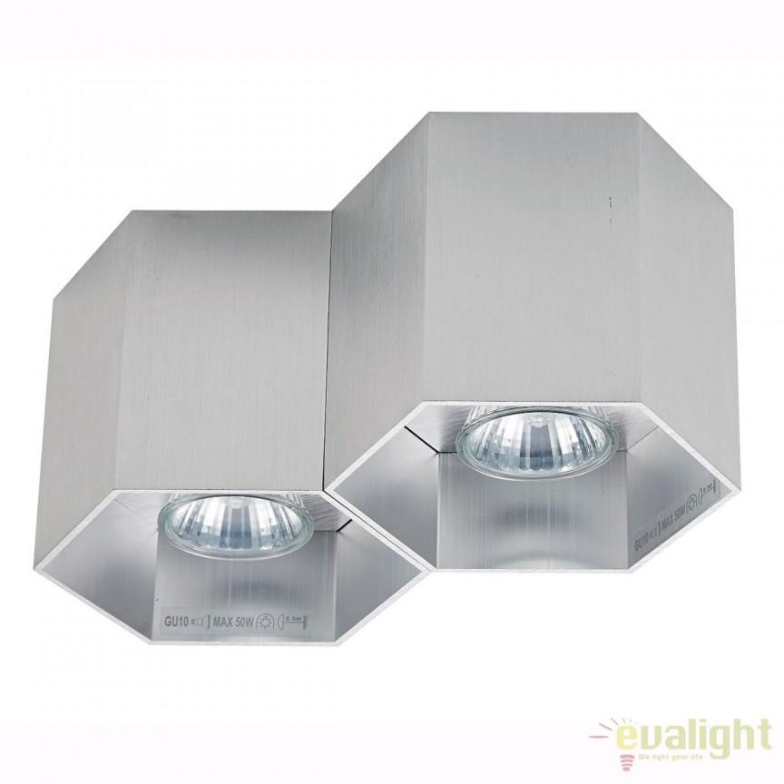Spot aplicat POLYGON CL 2, argintiu 20036-AL ZL, Spoturi aplicate - tavan / perete, Corpuri de iluminat, lustre, aplice, veioze, lampadare, plafoniere. Mobilier si decoratiuni, oglinzi, scaune, fotolii. Oferte speciale iluminat interior si exterior. Livram in toata tara.  a