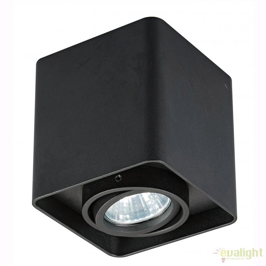 Spot aplicat QUADRY SL 1, negru 20039-BK ZL, Spoturi aplicate - tavan / perete, Corpuri de iluminat, lustre, aplice, veioze, lampadare, plafoniere. Mobilier si decoratiuni, oglinzi, scaune, fotolii. Oferte speciale iluminat interior si exterior. Livram in toata tara.  a