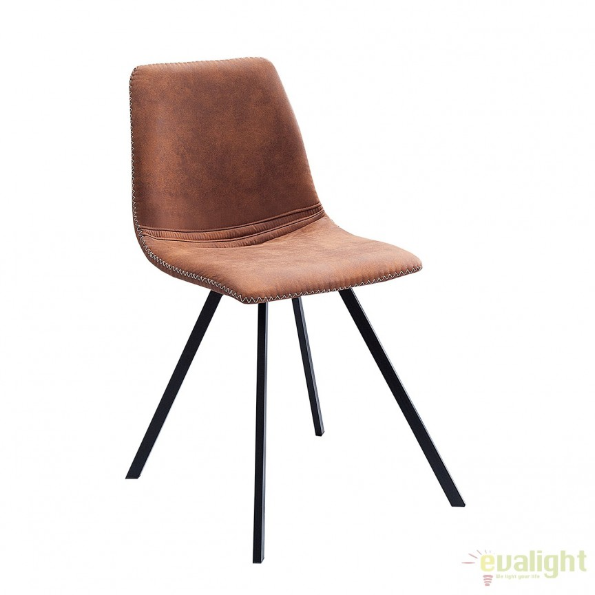 Set de 4 scaune industrial retro ideale bucatarii, birouri sau sali de conferinta, Amsterdam maro A-38365 VC, Seturi scaune dining, scaune HoReCa, Corpuri de iluminat, lustre, aplice, veioze, lampadare, plafoniere. Mobilier si decoratiuni, oglinzi, scaune, fotolii. Oferte speciale iluminat interior si exterior. Livram in toata tara.  a