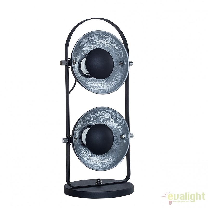 Lampa de masa design Retro Studio negru/ argintiu A-38406 VC, Veioze, Lampi de masa, Corpuri de iluminat, lustre, aplice, veioze, lampadare, plafoniere. Mobilier si decoratiuni, oglinzi, scaune, fotolii. Oferte speciale iluminat interior si exterior. Livram in toata tara.  a