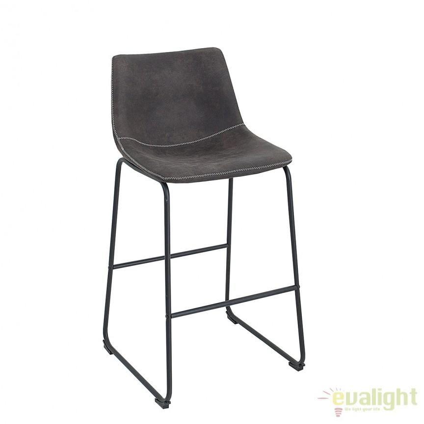 Set 2 scaune de bar cu tapiterie din microfibra Django gri vintage A-38110 VC, Magazin, Corpuri de iluminat, lustre, aplice, veioze, lampadare, plafoniere. Mobilier si decoratiuni, oglinzi, scaune, fotolii. Oferte speciale iluminat interior si exterior. Livram in toata tara.  a
