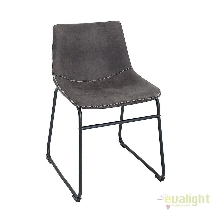 Set de 2 scaune cu tapiterie din microfibra Django gri vintage A-38109 VC, Magazin, Corpuri de iluminat, lustre, aplice, veioze, lampadare, plafoniere. Mobilier si decoratiuni, oglinzi, scaune, fotolii. Oferte speciale iluminat interior si exterior. Livram in toata tara.  a
