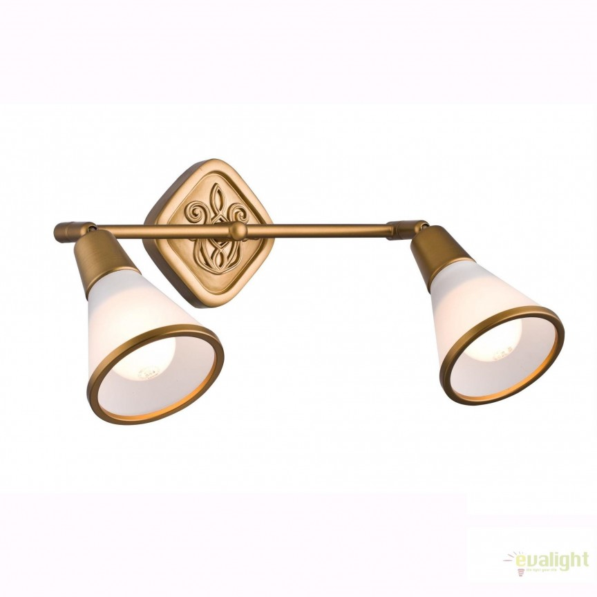 Aplica cu 2 spoturi design clasic Luther MYSP008-CW-02-G, Spoturi - iluminat - cu 2 spoturi, Corpuri de iluminat, lustre, aplice, veioze, lampadare, plafoniere. Mobilier si decoratiuni, oglinzi, scaune, fotolii. Oferte speciale iluminat interior si exterior. Livram in toata tara.  a