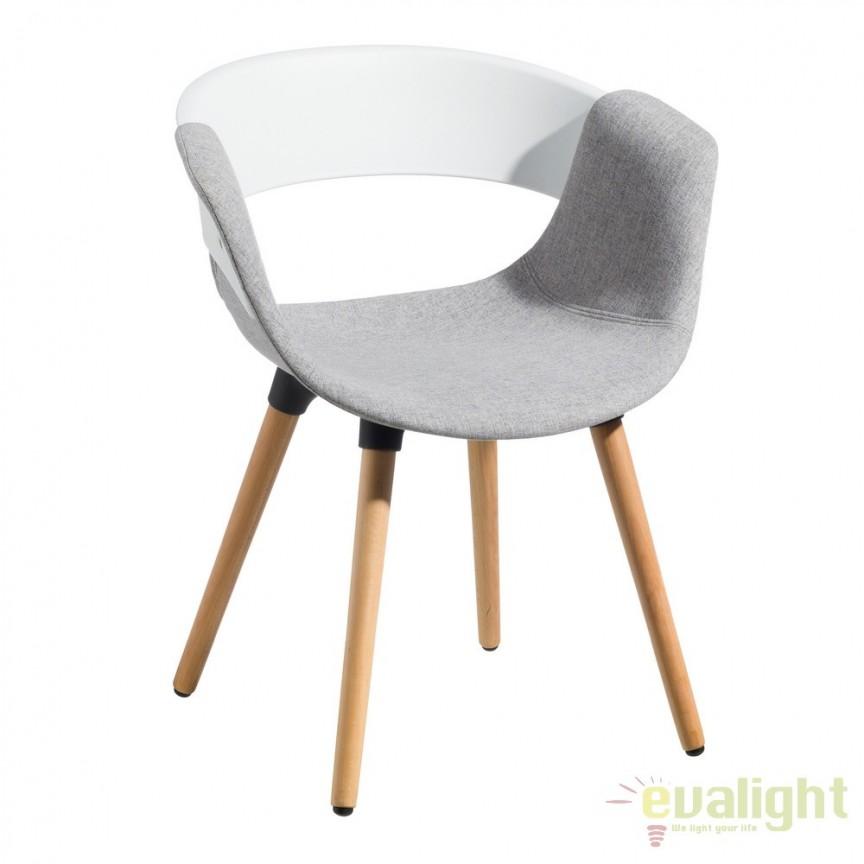Set de 2 scaune elegante Lunca alb/ gri cenusiu SX-103774, Seturi scaune dining, scaune HoReCa, Corpuri de iluminat, lustre, aplice, veioze, lampadare, plafoniere. Mobilier si decoratiuni, oglinzi, scaune, fotolii. Oferte speciale iluminat interior si exterior. Livram in toata tara.  a