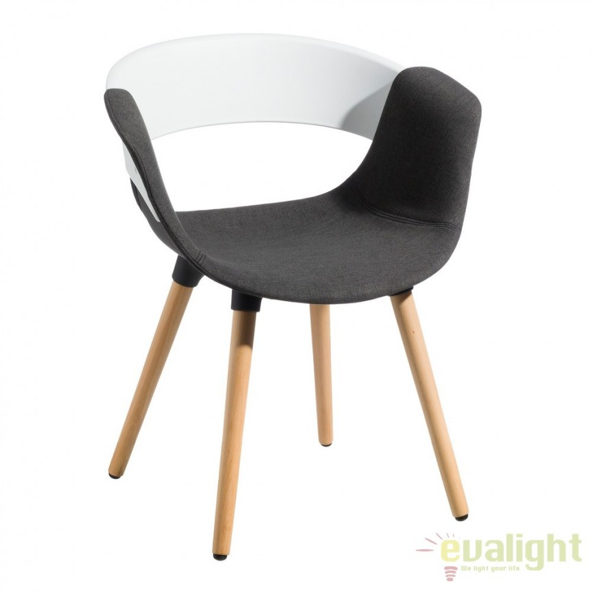 Set de 2 scaune elegante Lunca alb/ gri SX-103775, Seturi scaune dining, scaune HoReCa, Corpuri de iluminat, lustre, aplice, veioze, lampadare, plafoniere. Mobilier si decoratiuni, oglinzi, scaune, fotolii. Oferte speciale iluminat interior si exterior. Livram in toata tara.  a