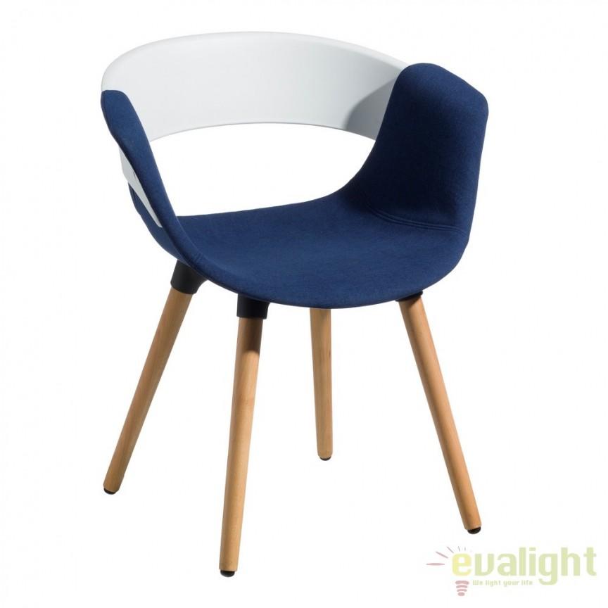 Set de 2 scaune elegante Lunca alb/ albastru SX-103776, Seturi scaune dining, scaune HoReCa, Corpuri de iluminat, lustre, aplice, veioze, lampadare, plafoniere. Mobilier si decoratiuni, oglinzi, scaune, fotolii. Oferte speciale iluminat interior si exterior. Livram in toata tara.  a