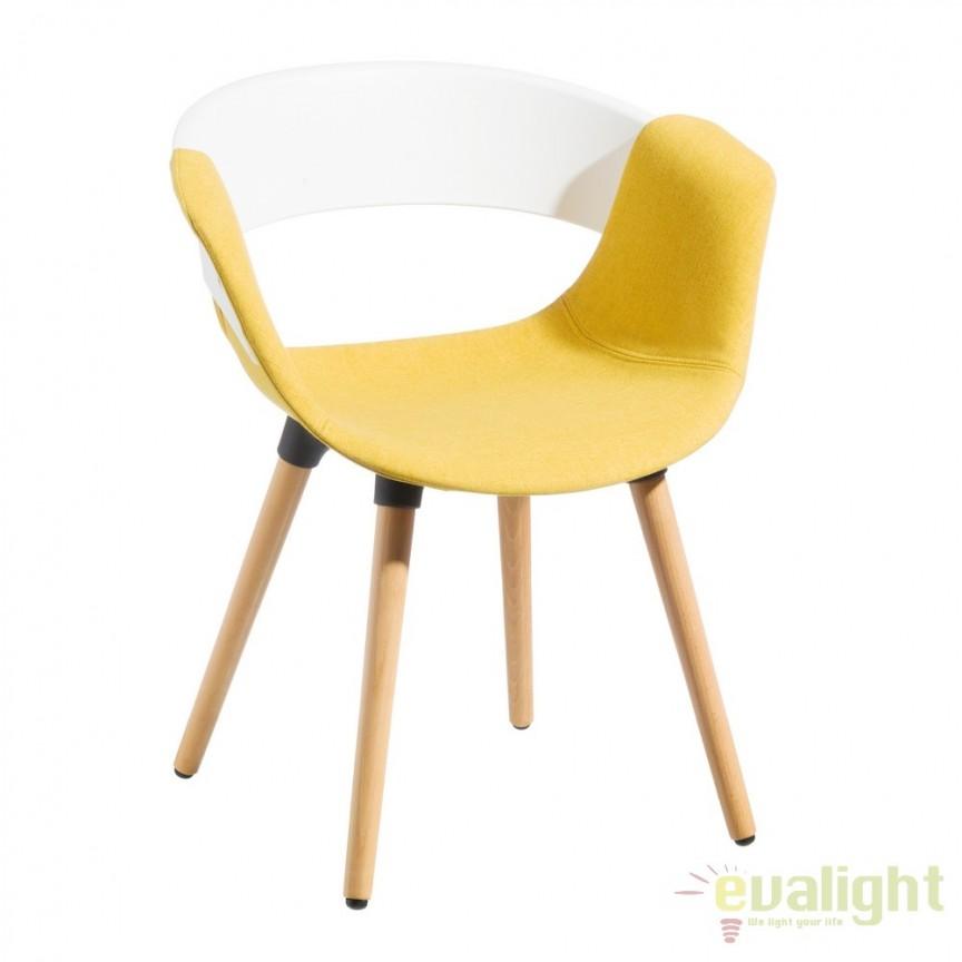 Set de 2 scaune elegante Lunca alb/ galben SX-104284, Seturi scaune dining, scaune HoReCa, Corpuri de iluminat, lustre, aplice, veioze, lampadare, plafoniere. Mobilier si decoratiuni, oglinzi, scaune, fotolii. Oferte speciale iluminat interior si exterior. Livram in toata tara.  a