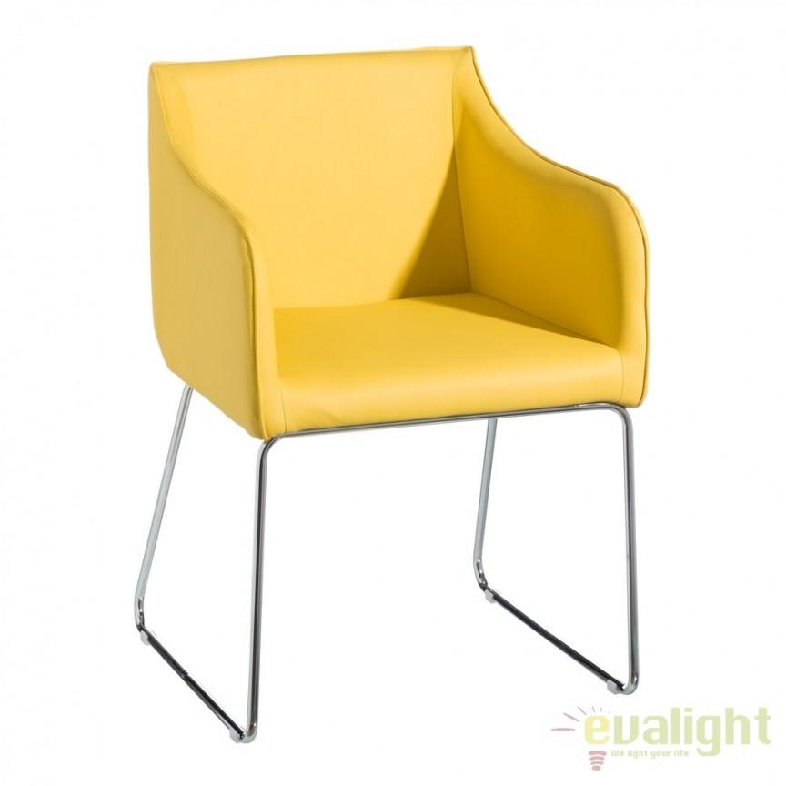 Set de 2 scaune elegante ideale bucatarii, birouri sau sali de conferinta, Salma galben SX-103159, Seturi scaune dining, scaune HoReCa, Corpuri de iluminat, lustre, aplice, veioze, lampadare, plafoniere. Mobilier si decoratiuni, oglinzi, scaune, fotolii. Oferte speciale iluminat interior si exterior. Livram in toata tara.  a