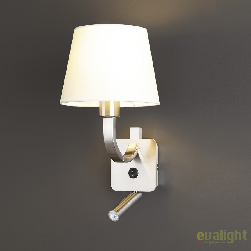 Aplica perete design modern cu reader LED DENVER alb W0191 MX, PROMOTII,  a