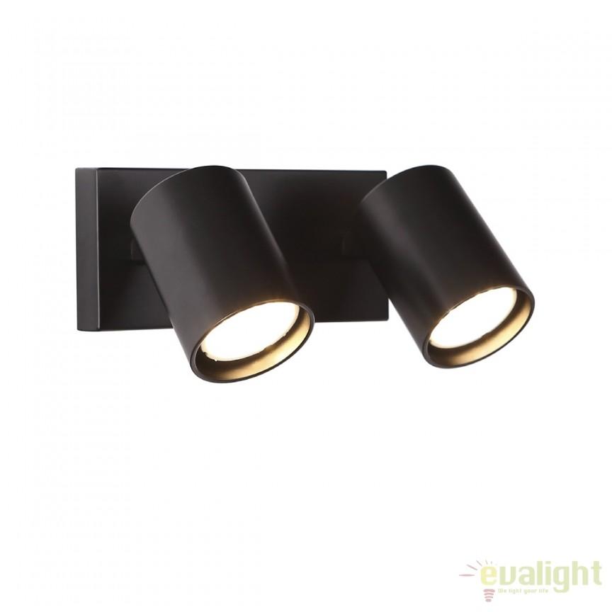 Aplica perete cu 2 spoturi directonabile TOP II negru W0221 MX, Spoturi - iluminat - cu 2 spoturi, Corpuri de iluminat, lustre, aplice, veioze, lampadare, plafoniere. Mobilier si decoratiuni, oglinzi, scaune, fotolii. Oferte speciale iluminat interior si exterior. Livram in toata tara.  a