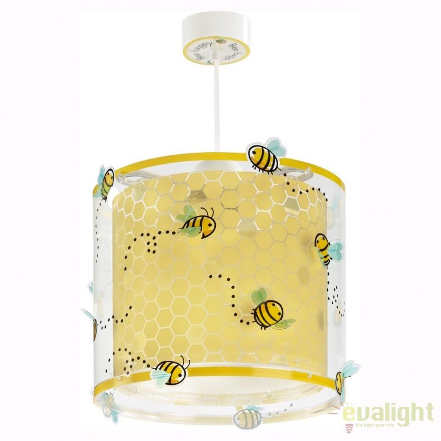 Lustra camera copii cu imagini imprimate Bee Happy 71092 DB, PROMOTII, Corpuri de iluminat, lustre, aplice, veioze, lampadare, plafoniere. Mobilier si decoratiuni, oglinzi, scaune, fotolii. Oferte speciale iluminat interior si exterior. Livram in toata tara.  a