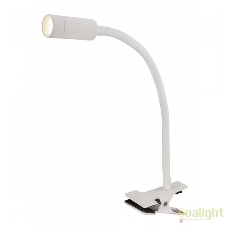 Veioza LED flexibila cu clips / Lampa birou cu clema KIWU I alba 54855 GL, Veioze de Birou moderne, Corpuri de iluminat, lustre, aplice, veioze, lampadare, plafoniere. Mobilier si decoratiuni, oglinzi, scaune, fotolii. Oferte speciale iluminat interior si exterior. Livram in toata tara.  a