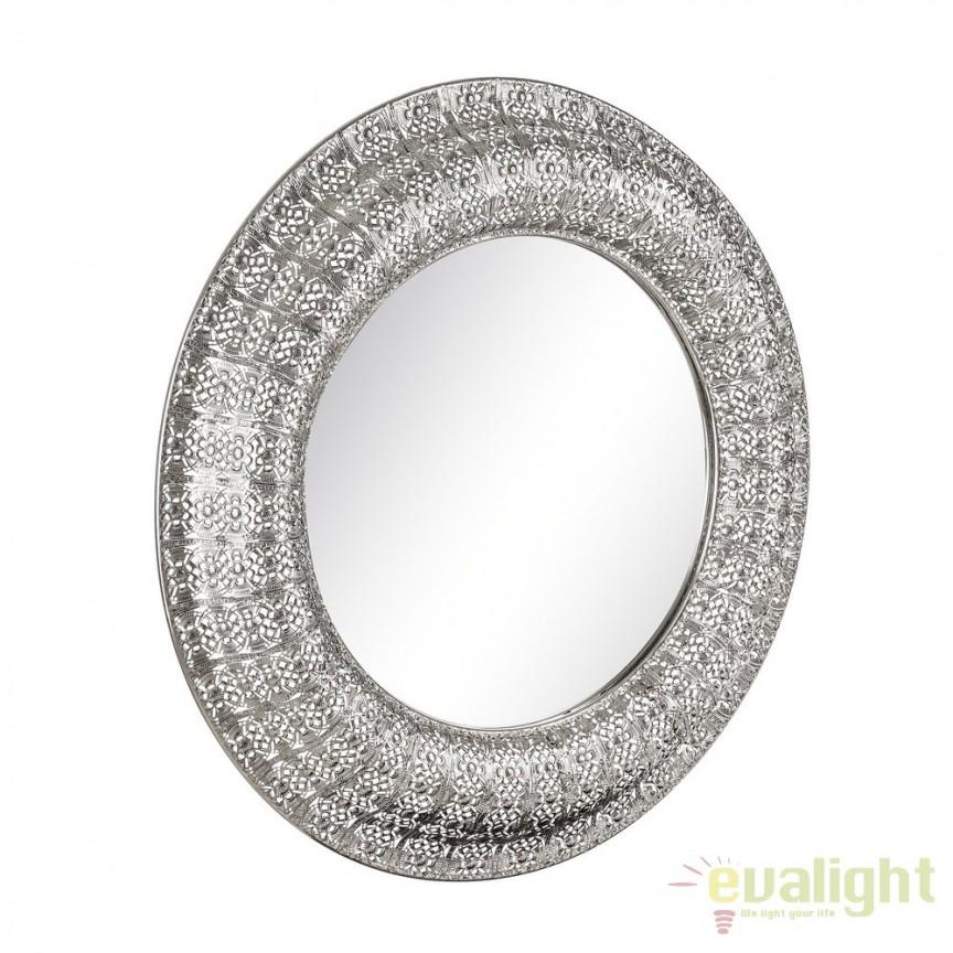 Oglinda decorativa din metal finisaj argintiu PLATA, 86cm SX-103336, Oglinzi decorative, Corpuri de iluminat, lustre, aplice, veioze, lampadare, plafoniere. Mobilier si decoratiuni, oglinzi, scaune, fotolii. Oferte speciale iluminat interior si exterior. Livram in toata tara.  a