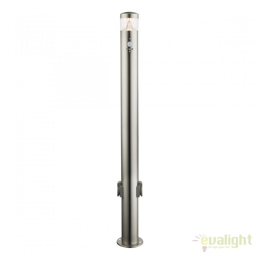 Stalp LED de exterior cu senzor de miscare FOSCA H100cm 34208KS GL, Iluminat cu senzor de miscare, Corpuri de iluminat, lustre, aplice, veioze, lampadare, plafoniere. Mobilier si decoratiuni, oglinzi, scaune, fotolii. Oferte speciale iluminat interior si exterior. Livram in toata tara.  a