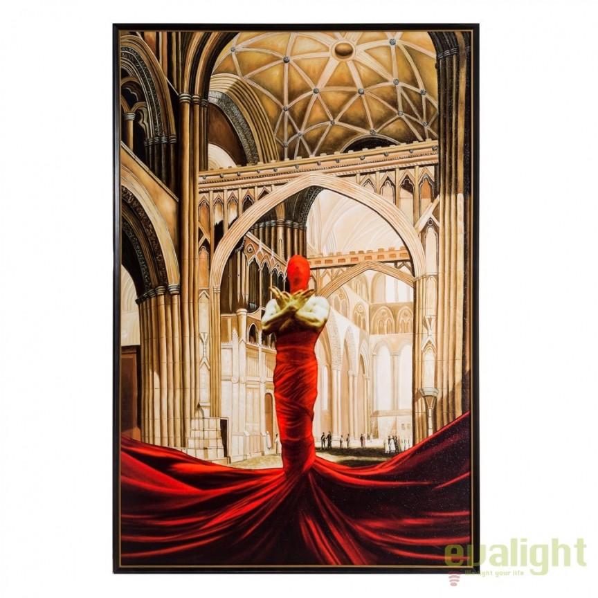 Tablou, imagime imprimata pe panza IGLESIA rosu, 116x175cm DZ-103681, Tablouri decorative, Corpuri de iluminat, lustre, aplice, veioze, lampadare, plafoniere. Mobilier si decoratiuni, oglinzi, scaune, fotolii. Oferte speciale iluminat interior si exterior. Livram in toata tara.  a