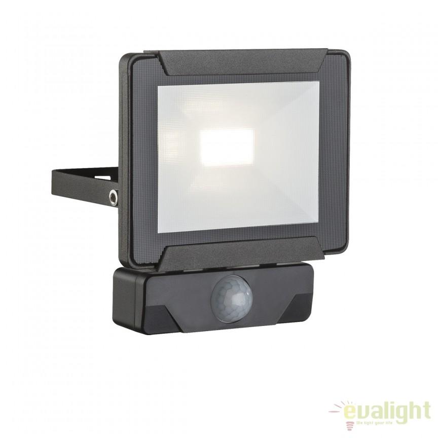 Proiector LED cu senzor de miscare IP44 URMIA I 34009S GL, Proiectoare de iluminat exterior , Corpuri de iluminat, lustre, aplice, veioze, lampadare, plafoniere. Mobilier si decoratiuni, oglinzi, scaune, fotolii. Oferte speciale iluminat interior si exterior. Livram in toata tara.  a