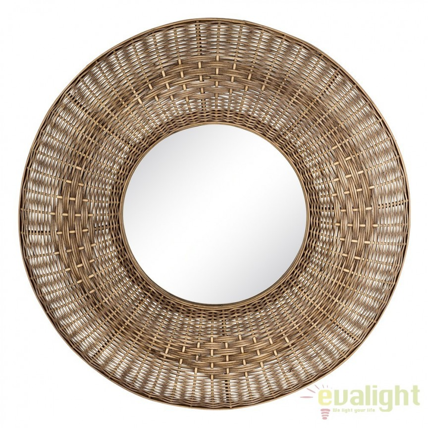Oglinda decorativa design rustic Rattan 81cm SX-103445, Oglinzi decorative, Corpuri de iluminat, lustre, aplice, veioze, lampadare, plafoniere. Mobilier si decoratiuni, oglinzi, scaune, fotolii. Oferte speciale iluminat interior si exterior. Livram in toata tara.  a