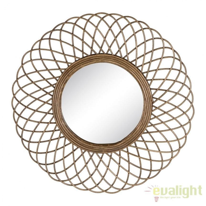 Oglinda de perete design rustic Rattan 51cm SX-103447, Oglinzi decorative, Corpuri de iluminat, lustre, aplice, veioze, lampadare, plafoniere. Mobilier si decoratiuni, oglinzi, scaune, fotolii. Oferte speciale iluminat interior si exterior. Livram in toata tara.  a