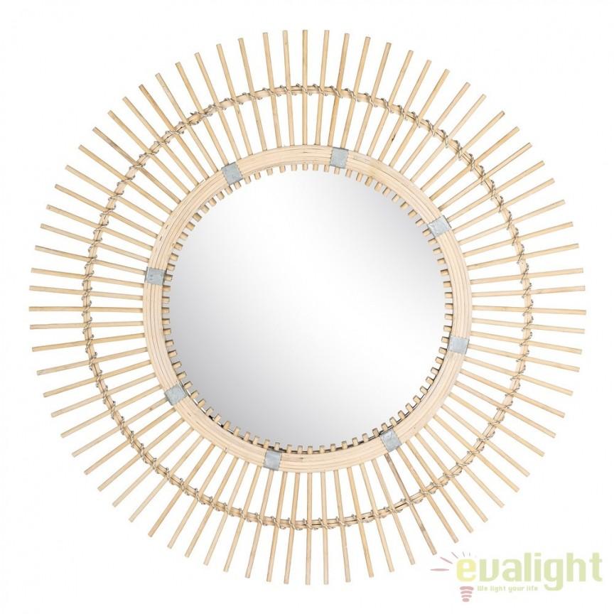Oglinda rotunda de perete design rustic Bambus 80cm SX-103451, Oglinzi decorative, Corpuri de iluminat, lustre, aplice, veioze, lampadare, plafoniere. Mobilier si decoratiuni, oglinzi, scaune, fotolii. Oferte speciale iluminat interior si exterior. Livram in toata tara.  a
