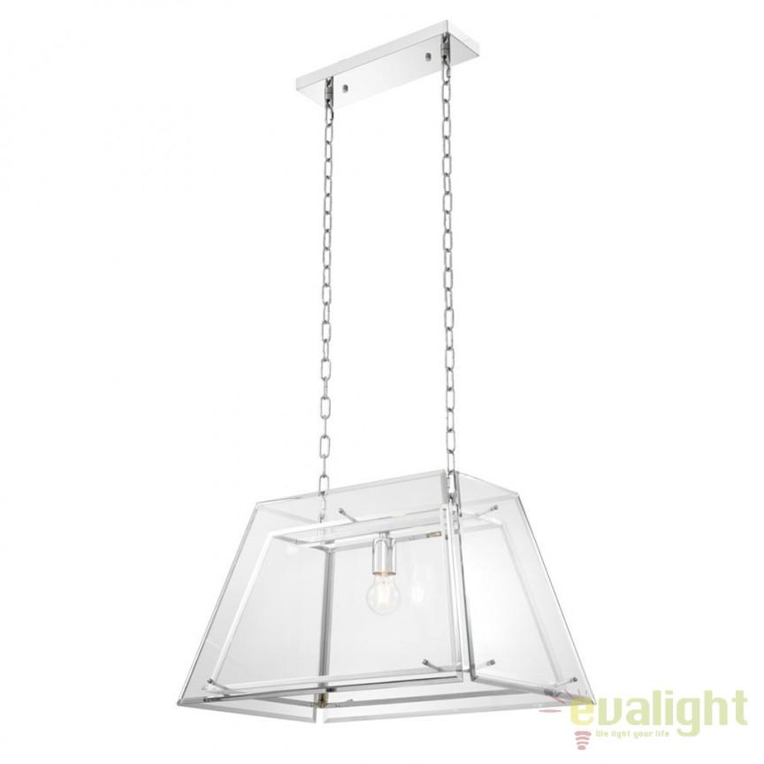 Candelabru design LUX din metal si sticla tesita Azure S nickel 111906 HZ, Candelabre, Lustre moderne, Corpuri de iluminat, lustre, aplice, veioze, lampadare, plafoniere. Mobilier si decoratiuni, oglinzi, scaune, fotolii. Oferte speciale iluminat interior si exterior. Livram in toata tara.  a