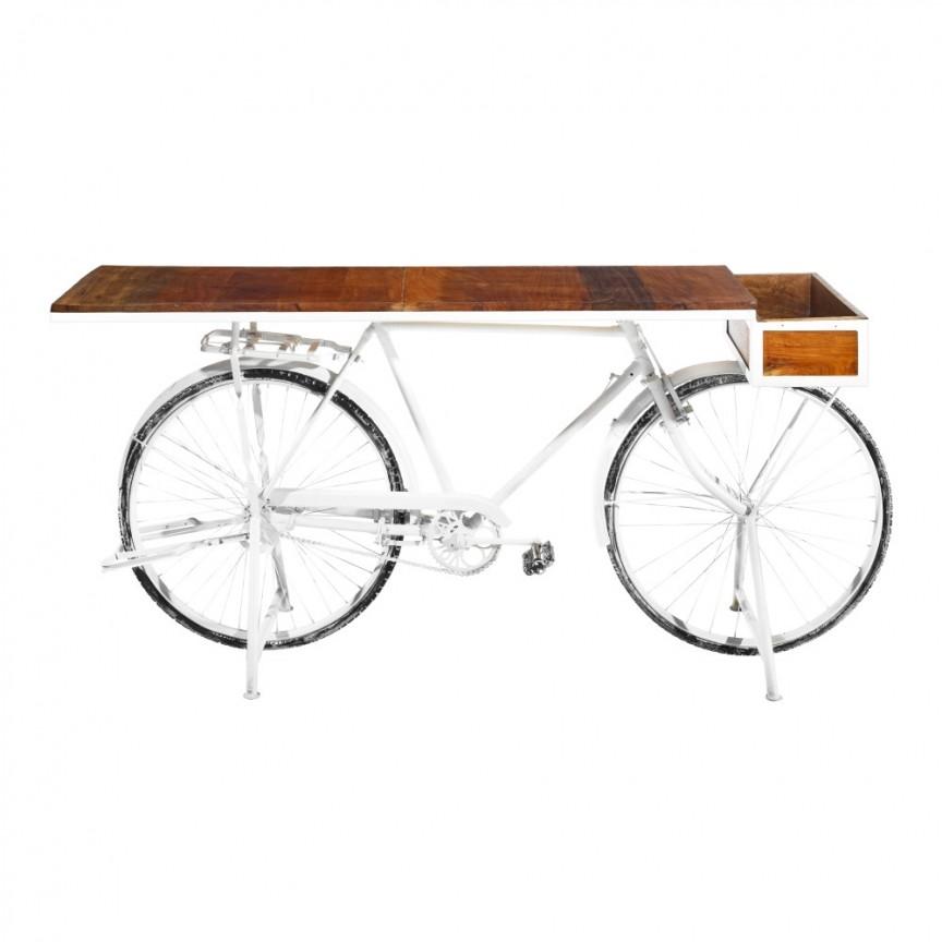 Consola bicicleta design deosebit Berwick alb DZ-120466, Console - Birouri, Corpuri de iluminat, lustre, aplice, veioze, lampadare, plafoniere. Mobilier si decoratiuni, oglinzi, scaune, fotolii. Oferte speciale iluminat interior si exterior. Livram in toata tara.  a