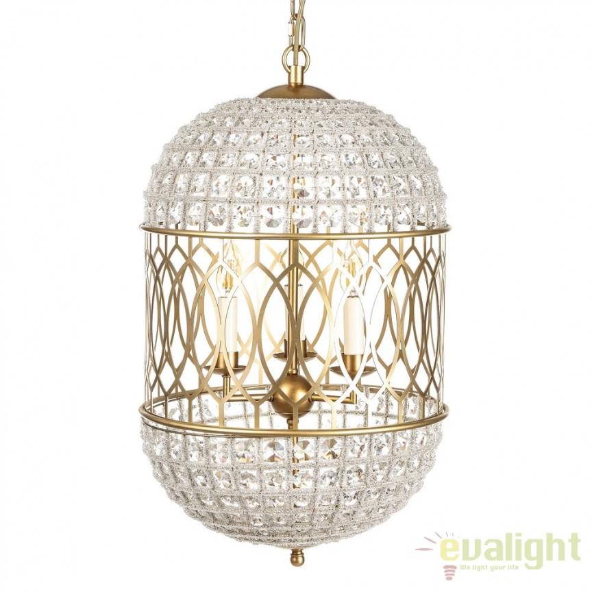 Lustra eleganta din metal auriu si cristale din sticla Oro DZ-104555, Candelabre, Lustre moderne, Corpuri de iluminat, lustre, aplice, veioze, lampadare, plafoniere. Mobilier si decoratiuni, oglinzi, scaune, fotolii. Oferte speciale iluminat interior si exterior. Livram in toata tara.  a