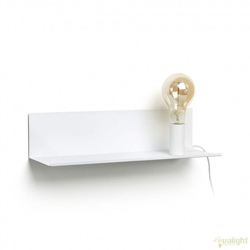Aplica metalica cu raft MAEKO alb, 50cm AA2017R05 JG, Mobilier divers, Corpuri de iluminat, lustre, aplice, veioze, lampadare, plafoniere. Mobilier si decoratiuni, oglinzi, scaune, fotolii. Oferte speciale iluminat interior si exterior. Livram in toata tara.  a