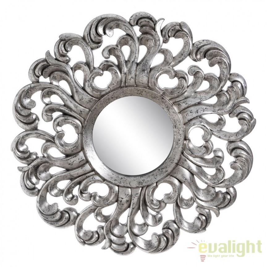 Oglinda decorativa din poliuretan finisaj argintiu, Plata diametru 92cm, SX-103692, Oglinzi decorative, Corpuri de iluminat, lustre, aplice, veioze, lampadare, plafoniere. Mobilier si decoratiuni, oglinzi, scaune, fotolii. Oferte speciale iluminat interior si exterior. Livram in toata tara.  a