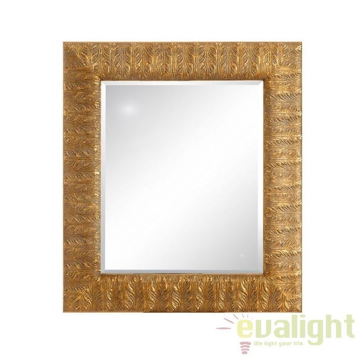 Oglinda decorativa din lemn de brad finisaj auriu, Oro 75x83cm, SX-102382, Oglinzi decorative, Corpuri de iluminat, lustre, aplice, veioze, lampadare, plafoniere. Mobilier si decoratiuni, oglinzi, scaune, fotolii. Oferte speciale iluminat interior si exterior. Livram in toata tara.  a