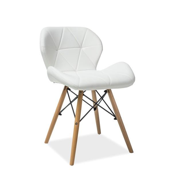 Scaun elegant cu picioare din lemn MATIAS, piele sintetica alba MATIASBUB SM, Mobila si Decoratiuni,  a