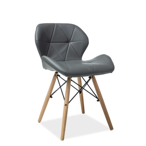 Scaun elegant cu picioare din lemn MATIAS, piele sintetica gri MATIASBUSZ SM, Mobila si Decoratiuni,  a