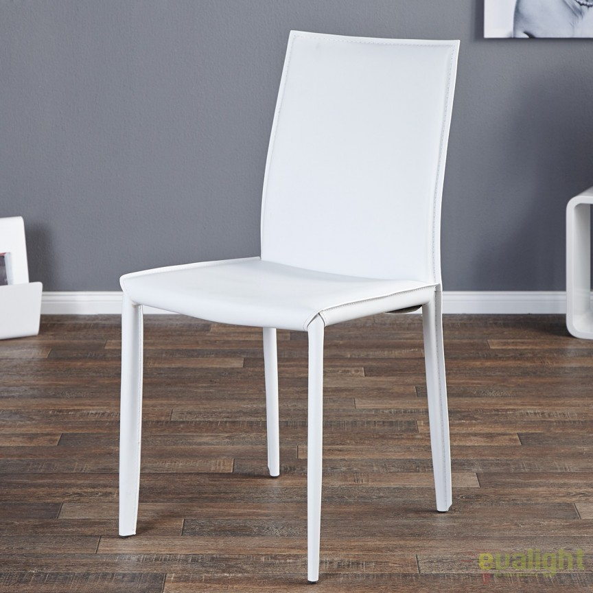 Set de 2 scaune elegante Milano, piele reciclata alba A-11565 VC, Seturi scaune dining, scaune HoReCa, Corpuri de iluminat, lustre, aplice, veioze, lampadare, plafoniere. Mobilier si decoratiuni, oglinzi, scaune, fotolii. Oferte speciale iluminat interior si exterior. Livram in toata tara.  a