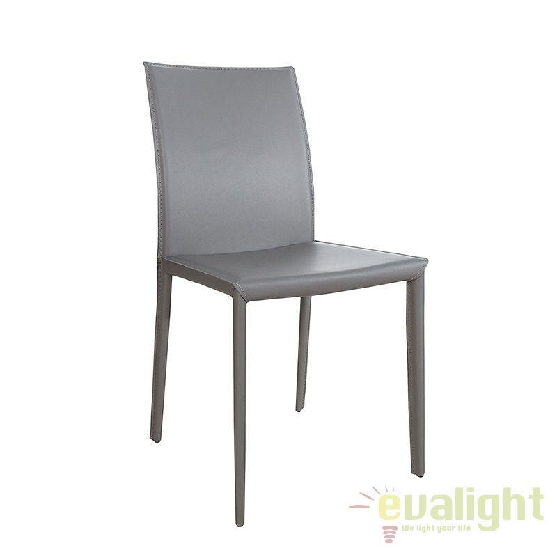 Set de 2 scaune elegante Milano, piele reciclata gri A-37153 VC, Seturi scaune dining, scaune HoReCa, Corpuri de iluminat, lustre, aplice, veioze, lampadare, plafoniere. Mobilier si decoratiuni, oglinzi, scaune, fotolii. Oferte speciale iluminat interior si exterior. Livram in toata tara.  a