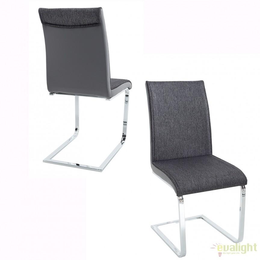 Set de 4 scaune elegante si moderne cu design ergonomic, Elegance, antracit/ gri A-37866 VC, Seturi scaune dining, scaune HoReCa, Corpuri de iluminat, lustre, aplice, veioze, lampadare, plafoniere. Mobilier si decoratiuni, oglinzi, scaune, fotolii. Oferte speciale iluminat interior si exterior. Livram in toata tara.  a