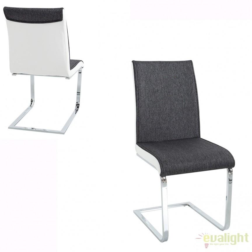 Set de 4 scaune elegante si moderne cu design ergonomic, Elegance, antracit/ alb A-37867 VC, Seturi scaune dining, scaune HoReCa, Corpuri de iluminat, lustre, aplice, veioze, lampadare, plafoniere. Mobilier si decoratiuni, oglinzi, scaune, fotolii. Oferte speciale iluminat interior si exterior. Livram in toata tara.  a