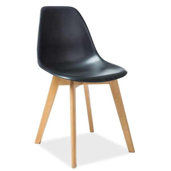 Scaun modern cu sezut din polipropilena si picioare din lemn de fag, MORIS fag/ negru MORISBUC SM, Mobila si Decoratiuni,  a